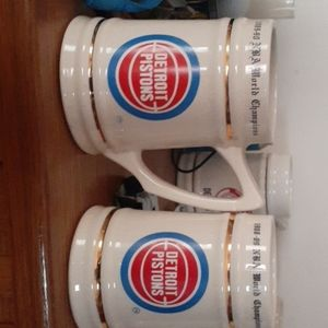 Pistons Championship mugs from '88-'89 and '89-'90